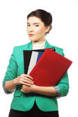 Business woman with folders. — Stock Photo