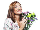 Woman with bouquet flowers — Stock Photo