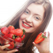 Beautiful happy smiling woman with strawberry — Stock Photo #30298589