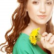 Woman with dandelion bouquet — Foto Stock