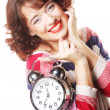 Beautiful woman with the clock — Stock Photo #30566363