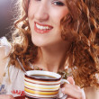 Woman enjoying coffee time — Stockfoto