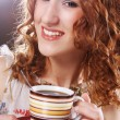 Woman enjoying coffee time — Stok fotoğraf