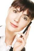 Zakenvrouw praten op mobiele telefoon — Stockfoto
