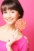 Woman with candy — Stock Photo