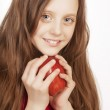 Little girl with red apple — Stock Photo #31067825