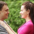 Closeup portrait of smiling young couple in love — Stock Photo #31133559