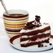 Chocolate cake with coffee — Stock Photo
