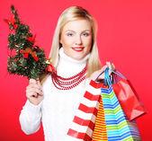 圣诞老人帽子举行圣诞节树的女人 — 图库照片