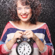 Beautiful woman with the clock — Stock Photo #31140021