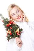 女人举行圣诞节树 — 图库照片