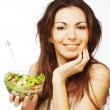 Girl eating healthy food — Stock Photo