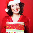 Woman with Christmas Gift Box — Stock Photo