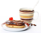 Chocolate cake with a cup of coffee — Stock Photo