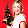 Woman holding Christmas tree — Stock Photo