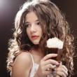 Girl with glass of coffee witn cream — Stock Photo