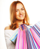 Shopping woman smiling. — Stock Photo