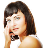 Bellissima donna con pelle pulita fresca — Foto Stock
