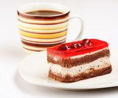 Ciasto przy filiżance kawy — Zdjęcie stockowe