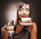 Woman with coffee and dessert — Stock Photo