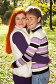 Two pretty girls walking in autumn park — Photo