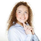 красивые счастливые портрет молодой взрослой женщины — Стоковое фото