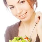 Girl eating healthy food — Stock Photo