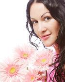 лицо привлекательная молодая женщина с цветами — Стоковое фото