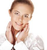 молодой взрослая женщина с здоровья кожи лица — Стоковое фото