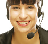Female customer service representative smiling — Stock Photo