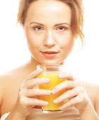 Woman isolated shot drinking orange juice — Stock Photo