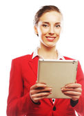 Business woman uses a mobile tablet computer — Stock Photo