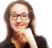 Donna d'affari di giovani nei bicchieri — Foto Stock