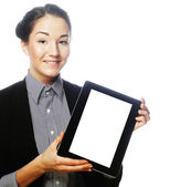 Isolated young business woman showing tablet — Stock Photo