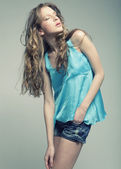 Fashion Model with curly hair — Stock Photo
