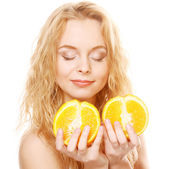 Blond woman with oranges in her hands — Stock Photo
