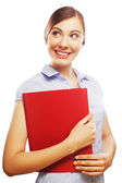 Smiling business woman with red folder — Stock Photo