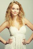 Portrait of beautiful curly blonde girl — Foto Stock
