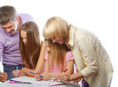 Nice family drawing — Stock Photo