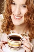 Woman enjoying coffee time — Stock Photo