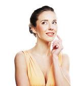 Kvinna på vit bakgrund — Stockfoto