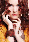 Woman with long curly hair — Stock Photo