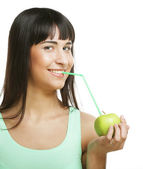 Woman with apple and Straws Cocktail — Stock Photo