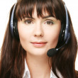 Smiling cheerful support phone operator — Stock Photo