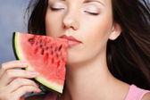 Woman  holding watermelon — Stock Photo