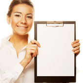 Business woman holding empty white board — Stock Photo