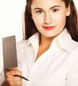 Affärskvinna med anteckningar.. — Stockfoto