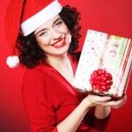Woman with Christmas Gift Box — Stock Photo
