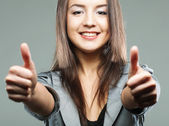 Business woman giving thumbs up — Stock Photo