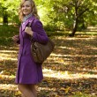 Fashion woman walking in autumn park — Stock Photo #42569833